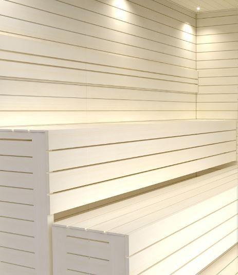 Sauna with white sauna benches.  #SaunaBenches #Sauna #LightStyle #Lauteet #Saunanlauteet