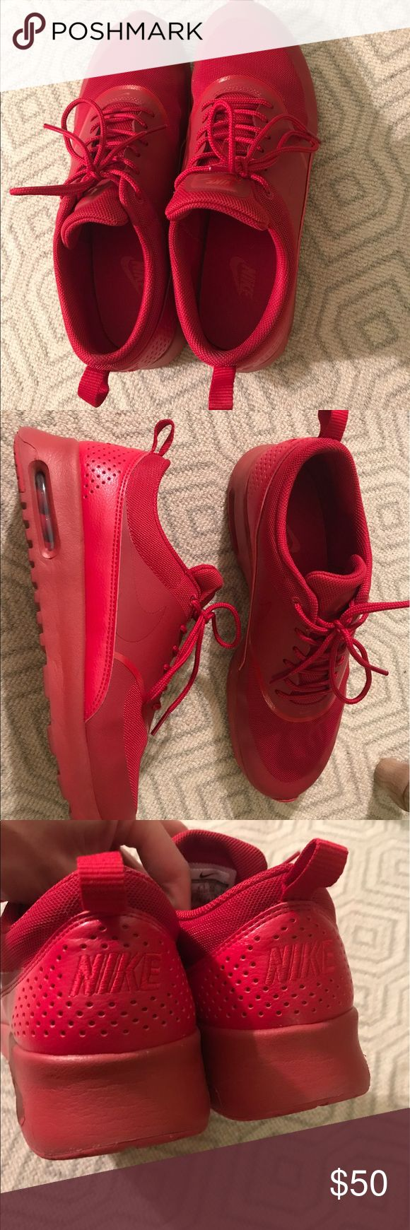Nike Red Shoes Women's Size 11 Worn 2x, like new condition, purchased in October 2016. No box. Nike Shoes Athletic Shoes