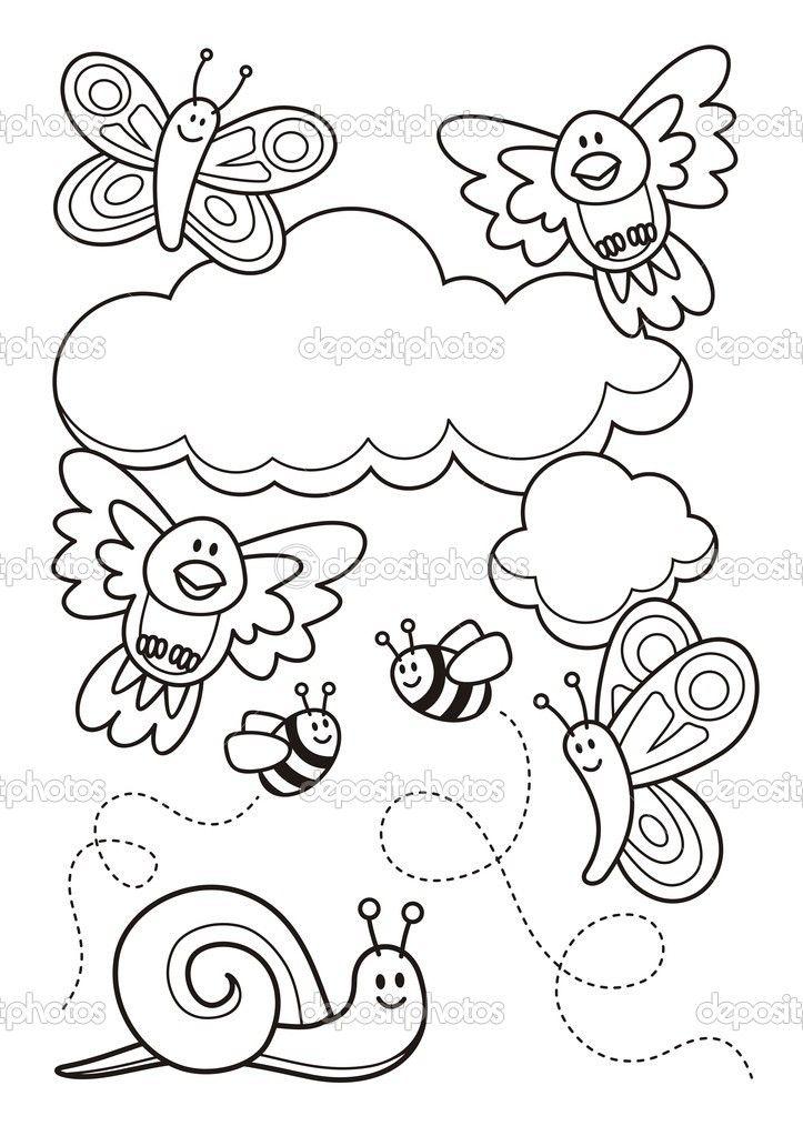 一个春天场面与宝宝动物卡通、 蝴蝶、 鸟、 蜜蜂和一只蜗牛,线条艺术为着色的书页 — 图库插图 #9969928