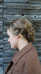#Bridal and #bridesmaid #hairstyles by Allene Chomyn Hair Design. Romantic #curls with a low #chignon.