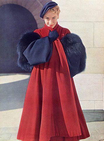 Christian Dior, 1949. Winter coat. Photo; Philippe Pottier.