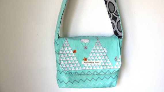 Organic Mini Messenger in Monsterz by KesselringTotes on Etsy, $20.00