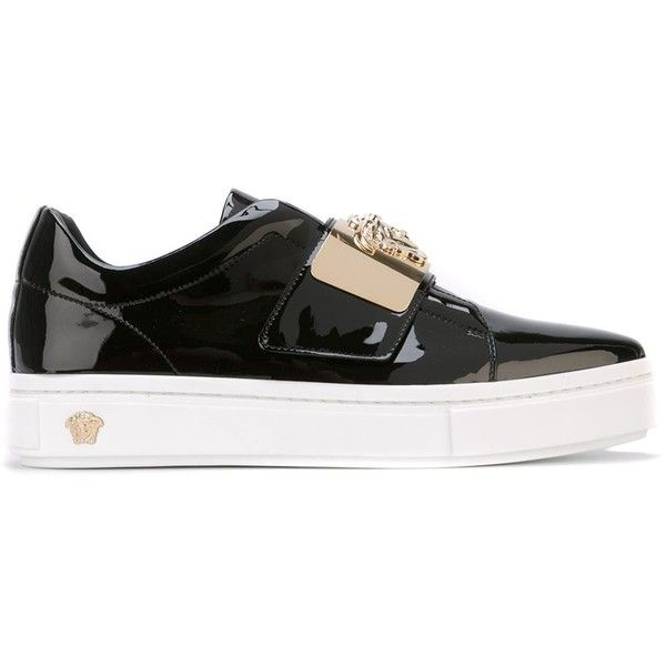 Versace Logo Plaque Slip-on Sneakers ($821) ❤ liked on Polyvore featuring shoes, sneakers, black, black trainers, patent leather sneakers, pointed toe slip on sneakers, patent leather shoes and black slip on sneakers