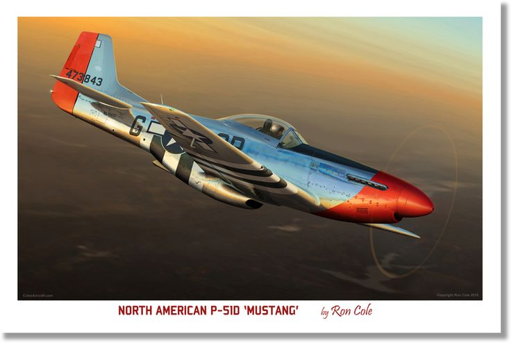 North American P-51D Mustang 'Red Nose', by Ron Cole Open Edition, unsigned Premium Poster on semigloss (170gsm).