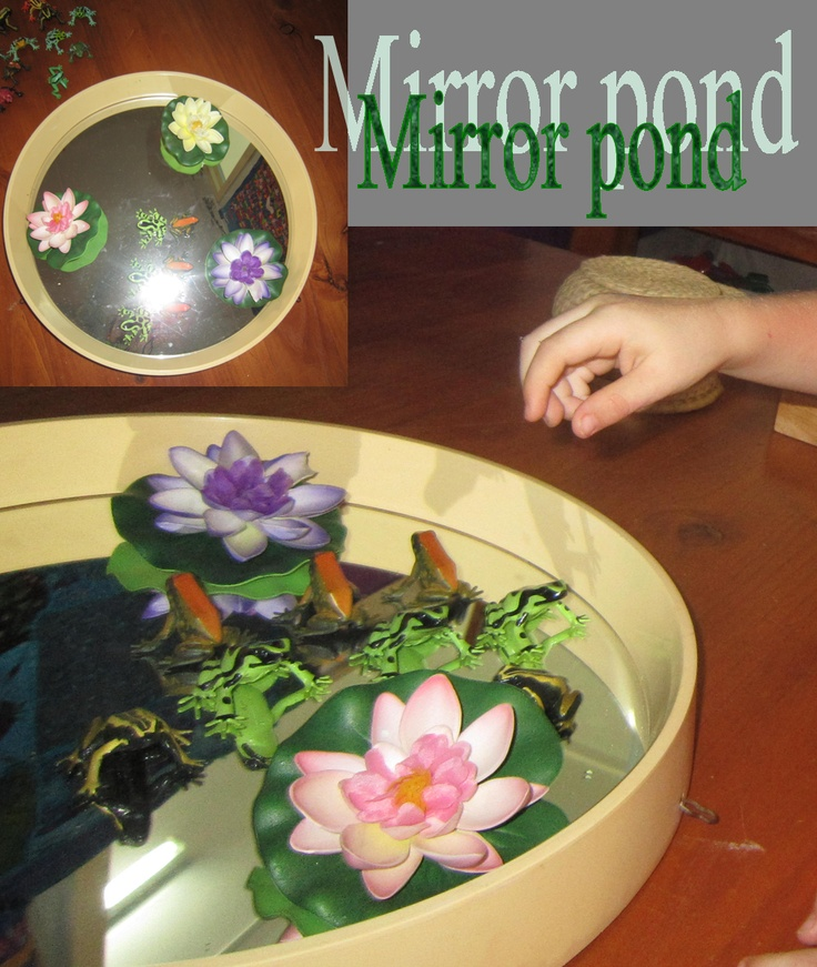 Use an old mirror for a frog pond
