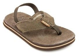 Reef Classic Toddler Open Toe Leather Brown Flip Flop Sandal.