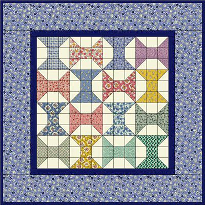 """Grace's Spools Quilt Pattern--basically, each is a nine-patch. """"Here's a small quilt designed with fabrics reminiscent of textiles available to quilters in the 1930's. In honor of Aunt Grace, the original brand of 1930's reproduction fabrics designed by Judie Rothermel for Marcus Fabrics, the Grace's Spools quilt is made with sixteen 6-inch traditional Spool Blocks."""""""