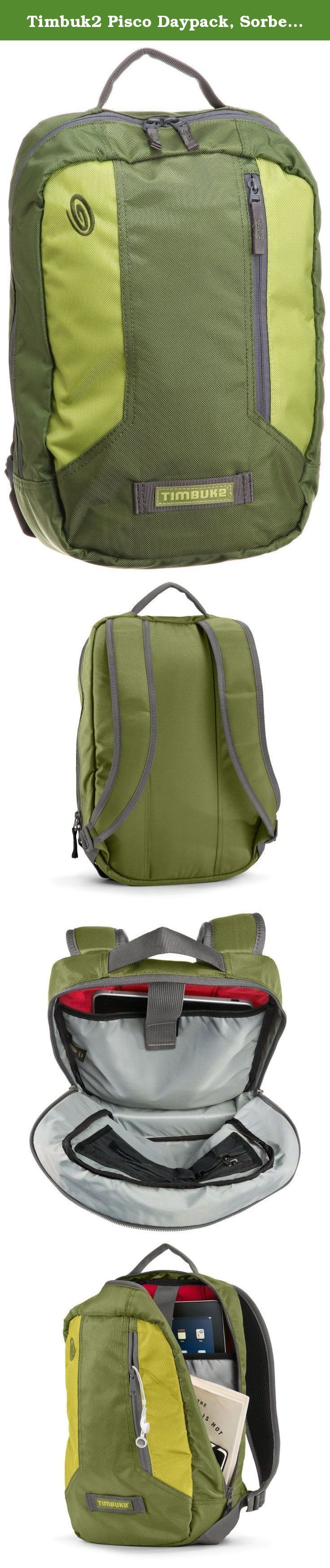 Timbuk2 Pisco Daypack, Sorbet Green/Algae Green/Gunmetal, Small. 377-2-7141 Color: Sorbet Green / Algae Green / Gunmetal Features: -Product Type:School Backpack -Material:Fabric -Color:Black -Color:Blue -Color:Green -Color:Grey / Silver -Color:Purple -Pattern:Solid -iPad and Tablet Pocket:Yes -Age:Adults -Gender:Men's -Gender:Women's. Dimensions: -Overall Product Weight:0.9.