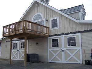 Horse Barn with Loft Apartment | Custom Twin Center Aisle Way Barn, with Gable Roof