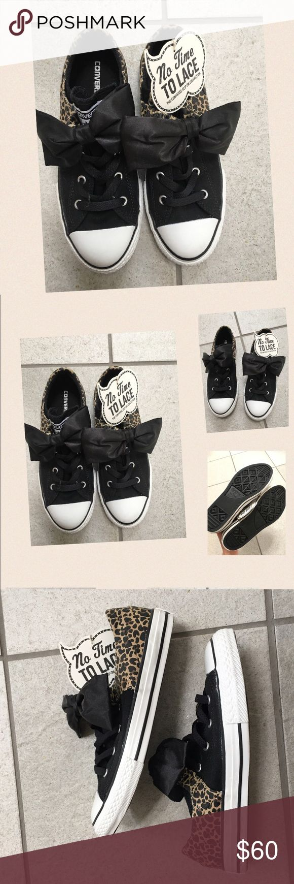 NWT Cheetah print black bow slip on converse shoes NEW converse slip on shoes. Cheetah print/black with black bow on top. No laces:) slips on. Really cute . Size 4 (fits like woman's 5.5-6) Converse Shoes Sneakers