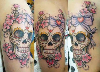 Tatuagem caveira mexicana feminina