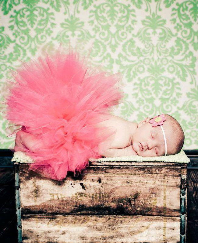 Coral Tutu Newborn Tutu Set with Matching Crochet HeadbandNewborn Photography Prop Newborn-2T. $22.00, via Etsy.