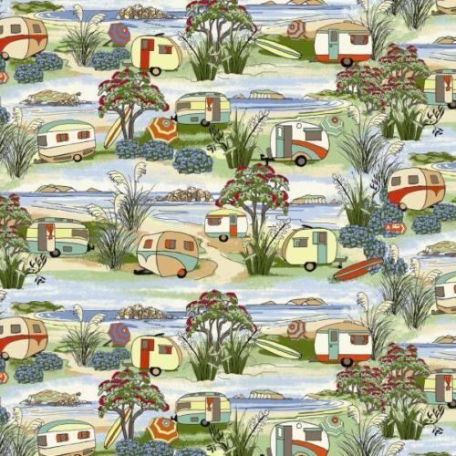 Retro-Vintage-Caravans-Beach-Holidays-Caravan-Camping-Fabric-1-2-Yard