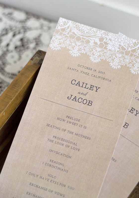Burlap and lace wedding programs
