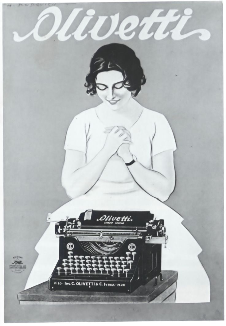 1921. Olivetti typewriters. Illustration by Dudovich.
