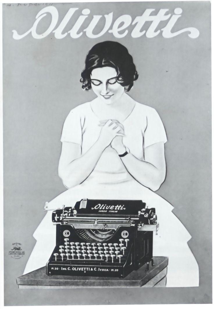 1921.  Olivetti typewriters.  Illustration by Dudovich.