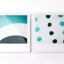 turquoise stripes and dots on polaroids!