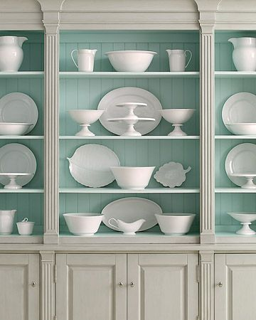 Beautiful robin's egg blue painted cabinet back- would highlight my milk glass collection perfectly.