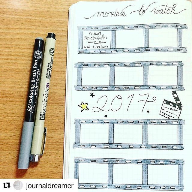 #Repost @journaldreamer with @repostapp ・・・ Movie Tracker  . . If you love to watch movies.. this movie tracker will help you gather the movies you have watched in 2017~  . . #movietracker #movie #tracker #bujo #bujo2017 #bujonewbie #bulletjournal #bulletjournaling #bulletjournallove #bulletjournalnewbie #bulletjournaladdicts #bulletjournalcommunity #bulletjournalcollection #films #movies #to #watch #sakuramicron01 #koiburshpen