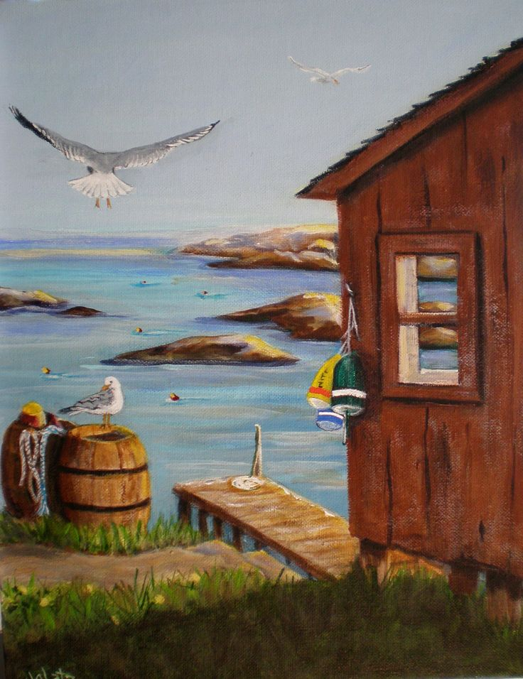 Fishing Shack 11x14 Acrylic on canvas  go to janetglatz.com