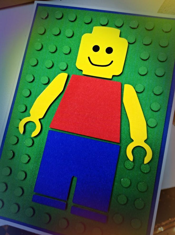 Happy.: Legoman. Handmade Lego card from a free cut file (not my own cut file, someone else made it)