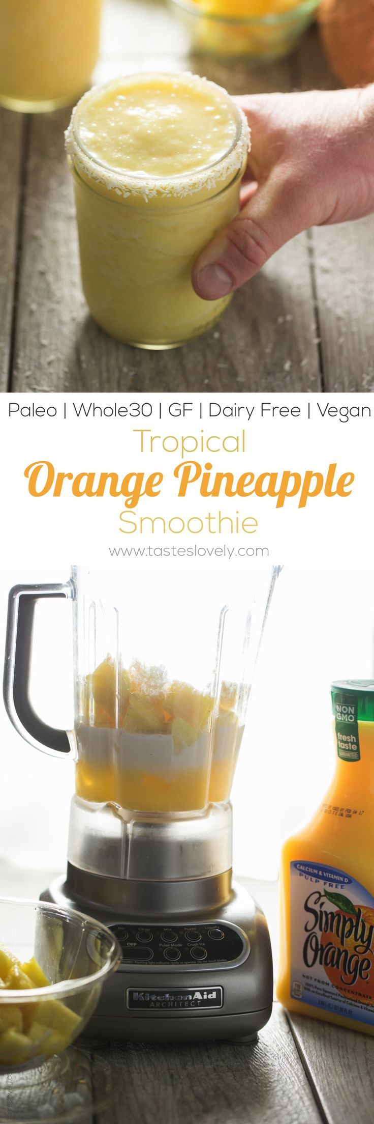 Tropical Pineapple Orange Smoothie - citrusy and bright breakfast smoothie (paleo, gluten free, dairy free, Whole30, vegan)