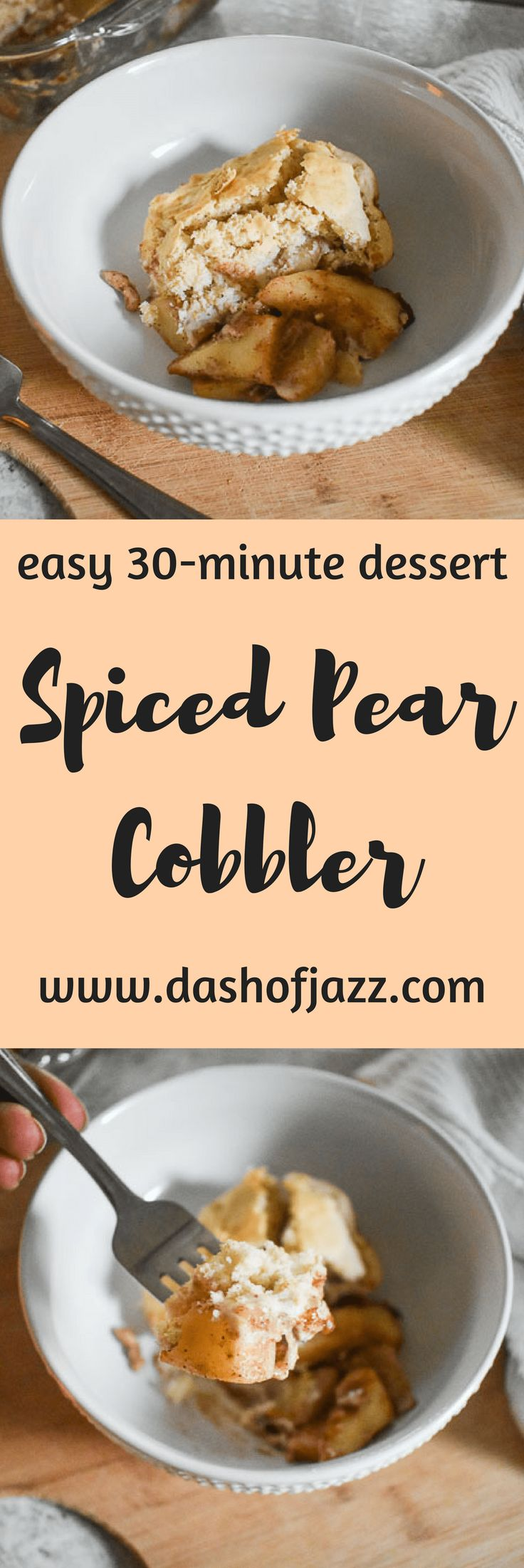 Simple Spiced Pear Cobbler is made with an easy scratch filling of crunchy pears and warm spices, and lightly sweet bisquick biscuit topping. Recipe by Dash of Jazz