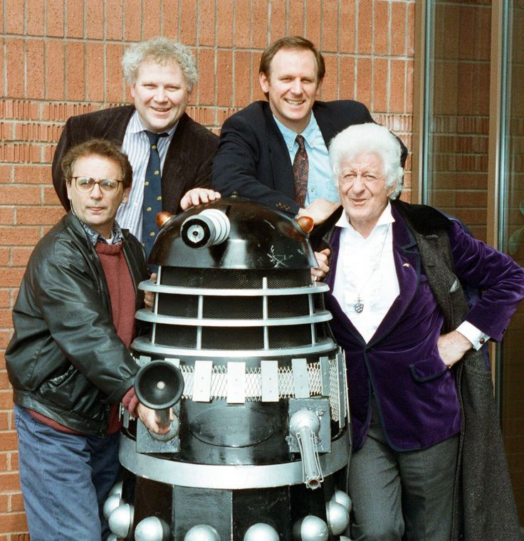 Sylvester McCoy, Colin Baker, Peter Davison and Jon Pertwee at the Hammersmith Ark for the opening of an exhibition to celebrate 30 years of Dr Who in 1993