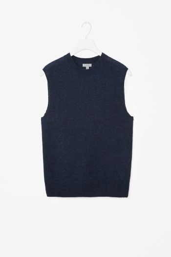 COS image 2 of Sleeveless knit jumper in Petrol Blue