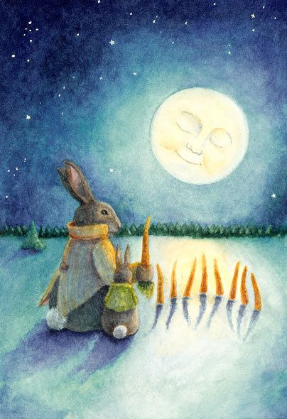 Yolanda W. Rabbit is teaching her young son, Mackley, the fine art of genetically altering the common carrot so that under the full moon light, it will yield Carotenoidants.  Once mature, the mutants will not only nourish their particular vitamin A needs, but also follow their biddings.