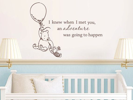This lovely decal features the quote as well as our hand drawn Classic Pooh and Piglet. This decal measures 22 tall x 30 wide. Our vinyl decals are easy to apply and easy to remove, without damaging walls. Easy to follow application instructions come with every order. We use high quality, interior grade matte vinyl. This special vinyl is made for interior use and because it has a matte finish, it gives the appearance of being hand painted on the wall. Wall decals are removable but not reu...