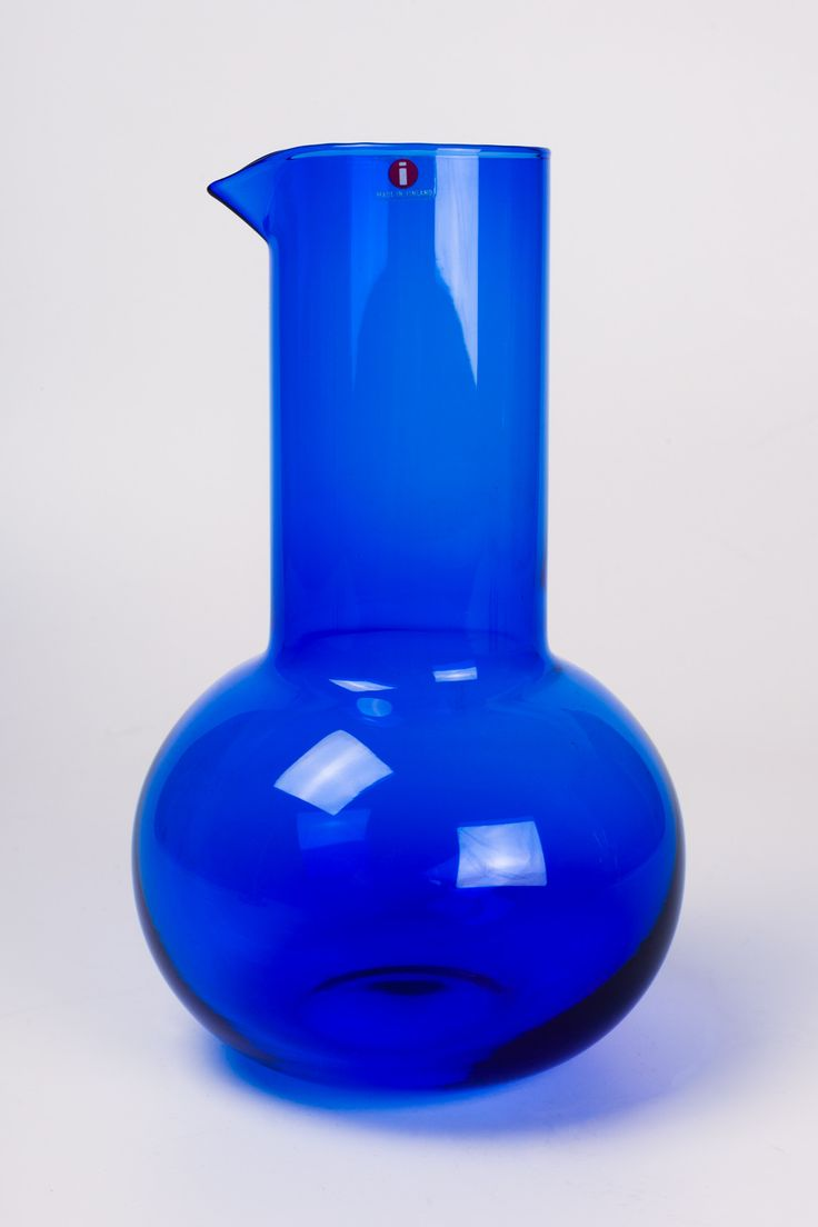 Finnish Glass Pitchers by Erkki Vesanto and Kaj Franck for Littala, Blue, 1960s | From a unique collection of antique and modern pitchers at https://www.1stdibs.com/furniture/dining-entertaining/pitchers/