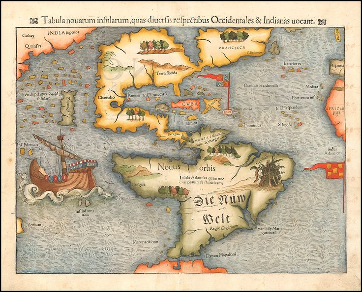First printed map of the American continents, 1554, Sebastian Münster.
