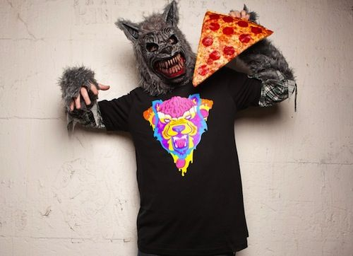 Tim and Eric's Wolf Pizza shirt.