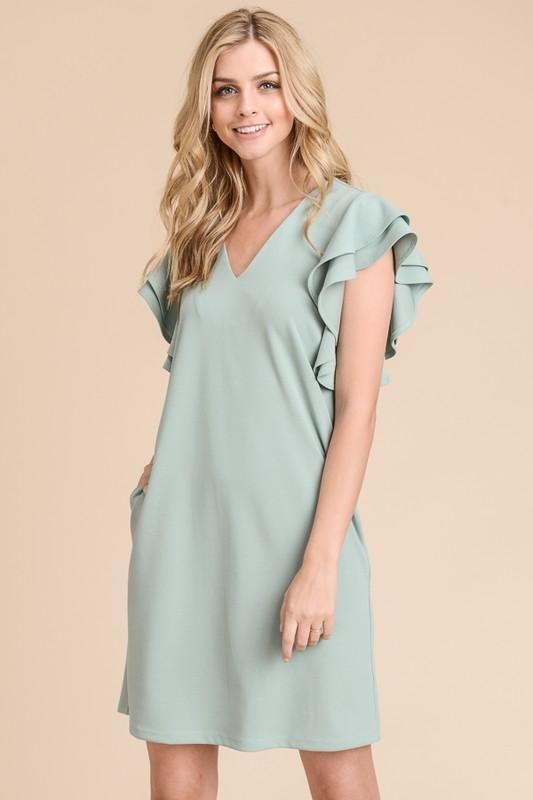 Camryn Double Ruffle Sleeve Dress in Mint