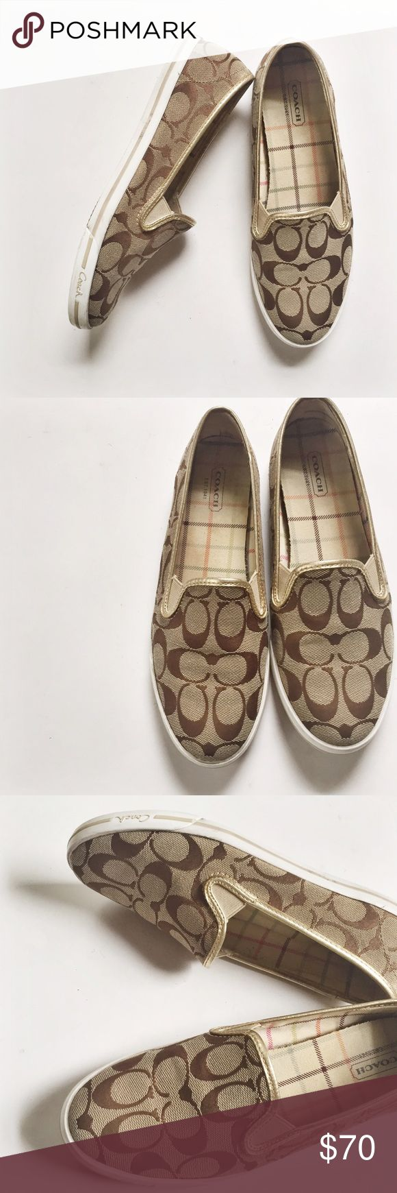 Coach Sneakers Goldprice drop Gold and brown coach sneaker great condition !!! Coach Shoes Sneakers