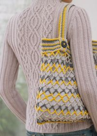Free Pattern: Crochet String Bag (this picture, with the knitted top and crocheted bag, is just perfection!)