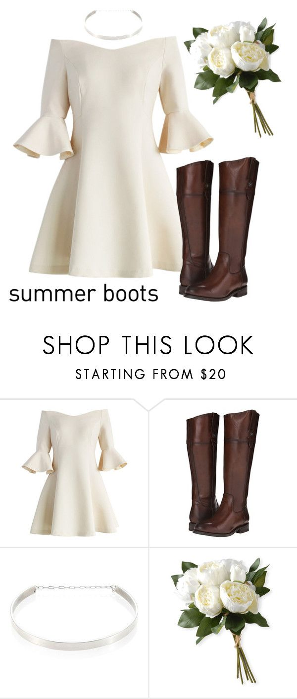 """""""Summer Riding Boots"""" by eliza-blankenship ❤ liked on Polyvore featuring Chicwish, Frye, Jennifer Zeuner and National Tree Company"""