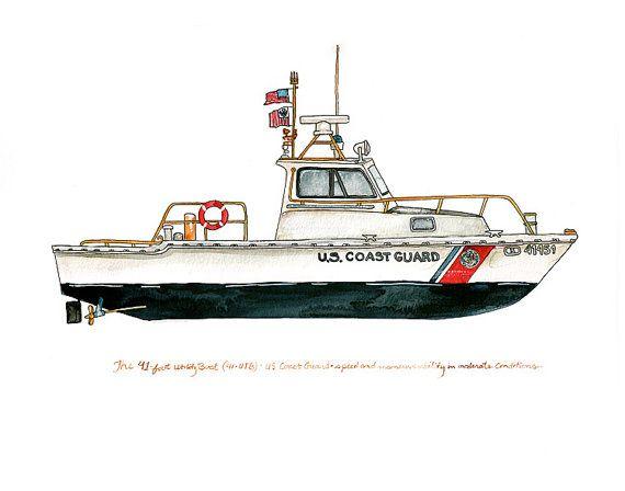 41foot Utility Boat UTB Coast Guard watercolor от FlightsByNumber, $20.00