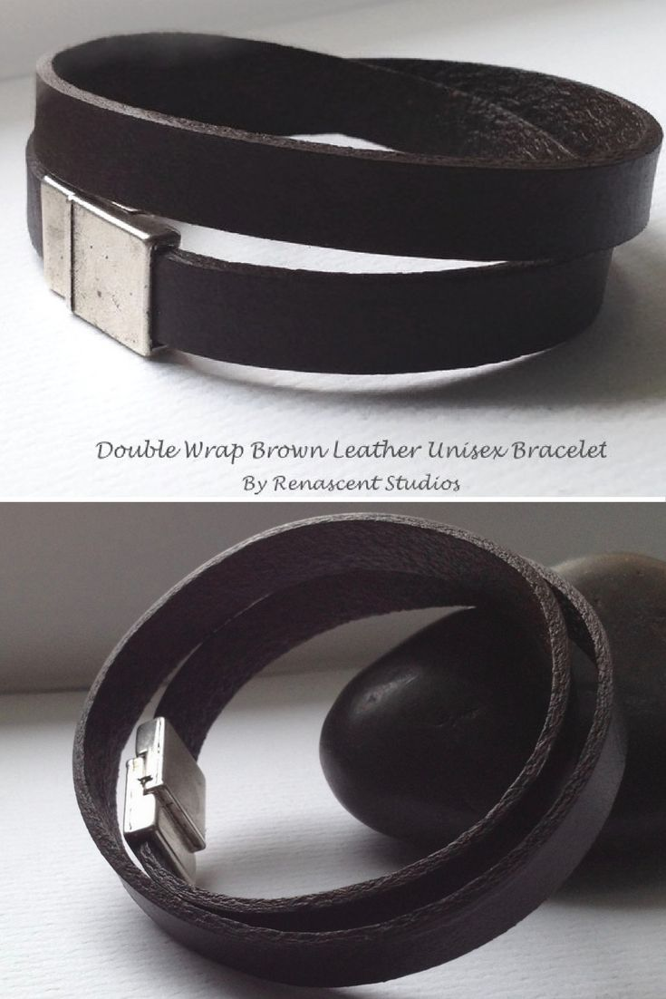 This unisex double wrap brown leather bracelet is a trendy bracelet that looks great worn on it's own or stacked with other bracelets.