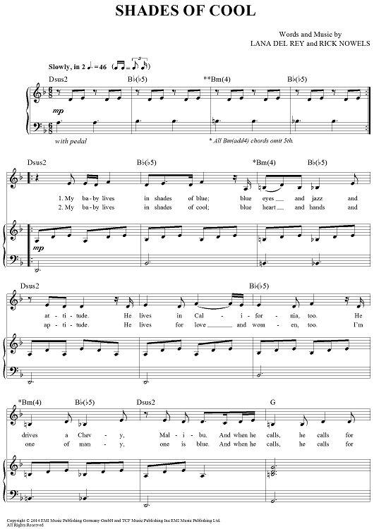 Lana Del Rey #LDR #Shades_of_Cool #sheet_music