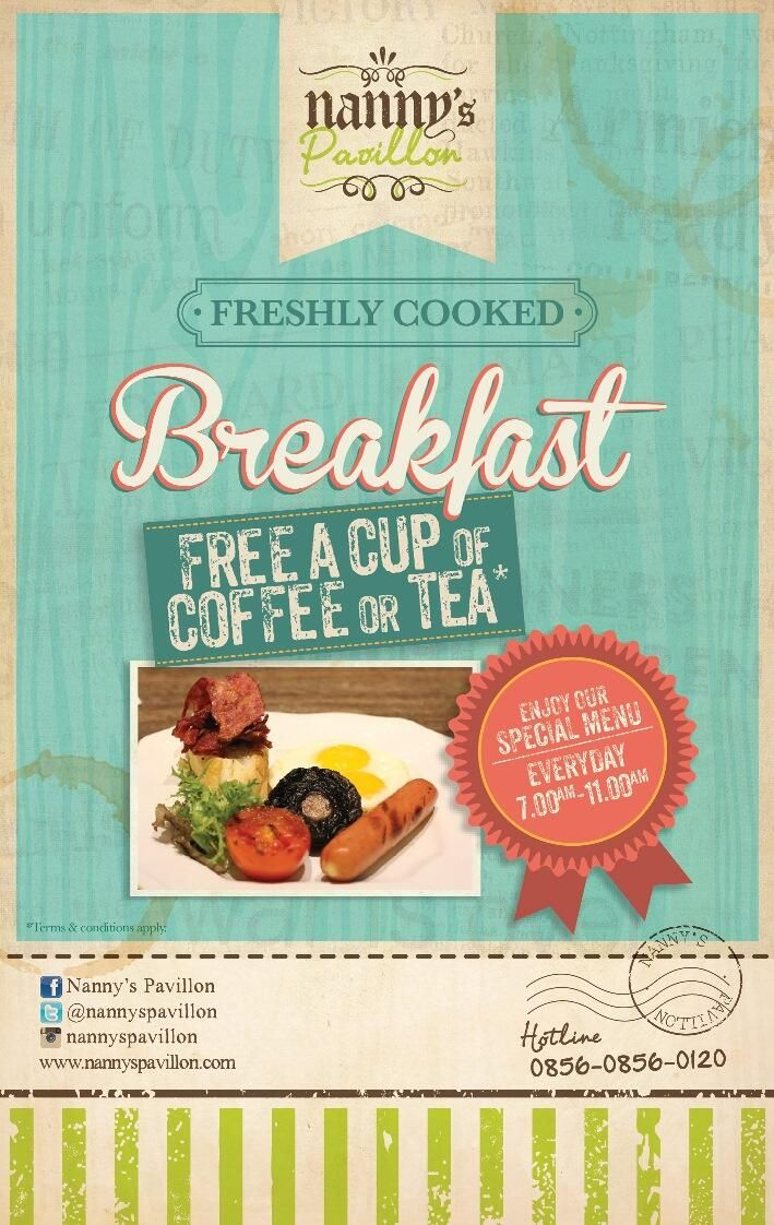 Nanny's Pavillon Home Bandung serves New Breakfast With Free Coffee or Tea*!