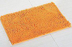 YJ Bear Chenille Rectangle Anti-slip Microfiber Doormat Solid Color Non-Slip Area Rug Carpet Shaggy Floor mat Soft Bath Mat for Home Bedroom Orange 20″ X 31″