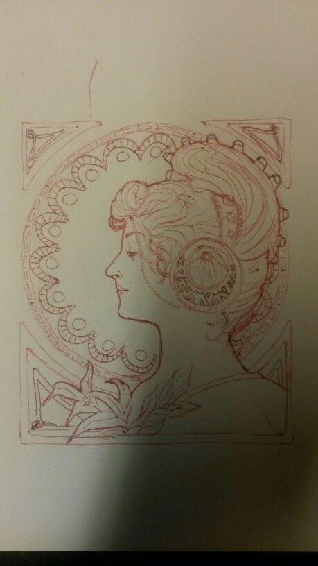 Illustrations fait de l'idée du graphiste et illustrateur Mucha Technique stylo bille rouge