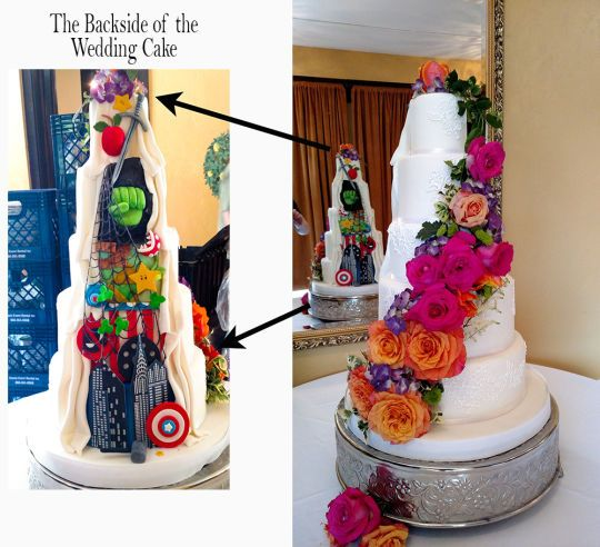 Front and Back Wedding cake with a little comic humor