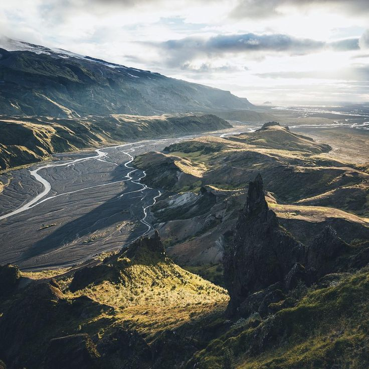 """Thorsmörk/ Þórsmörk is a mountain ridge in Iceland. Named after the Norse god Thor, this area richly deserves its reputation as the """"Valley of the Gods."""" It is situated in the south of Iceland between the glaciers Tindfjallajökull and Eyjafjallajökull."""