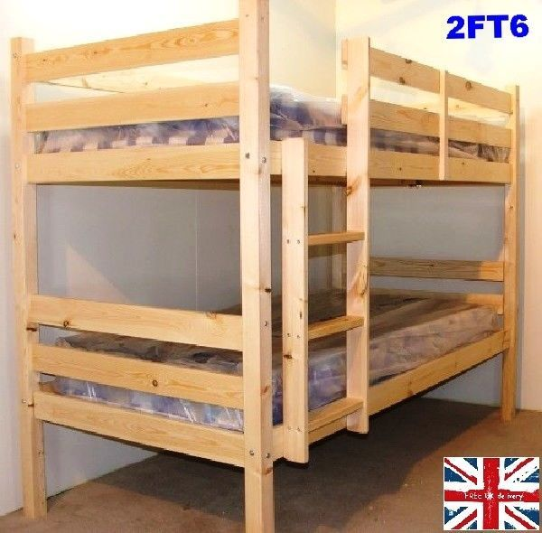 Heavy Duty Bunk Beds Twin Ladder Stairs Bunkbeds Kids Child Wood