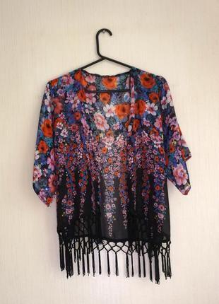 Красивое кимоно- накидка/ шифоновый кардиган с бахромой в цветы