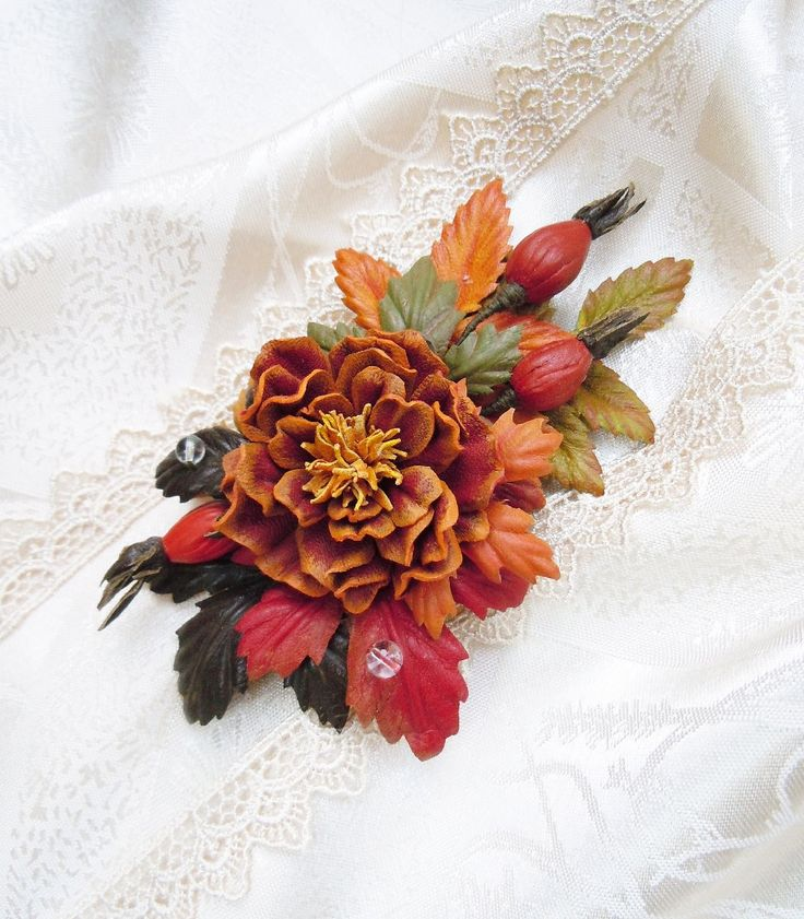 Leather flower brooch Autumn leaves Autumn flowers Natural eco style Falling Leaves Autumn Leather brooch Leather jewelry Gift for her by SummerInYourHome on Etsy