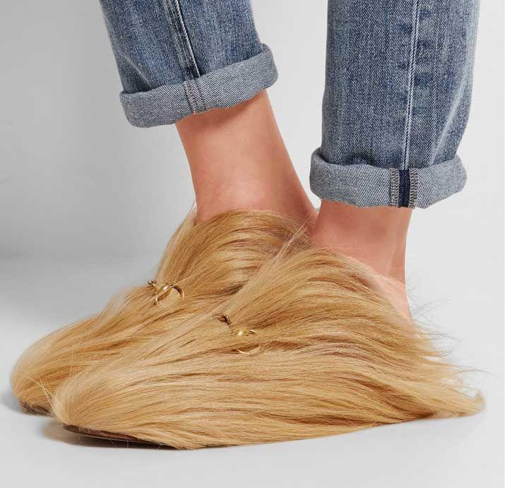 Gucci Horsebit-detailed goat hair slippers > Women's